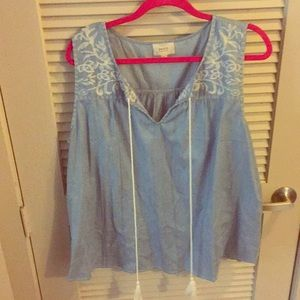 Chambray top with embroidered detail and tassels